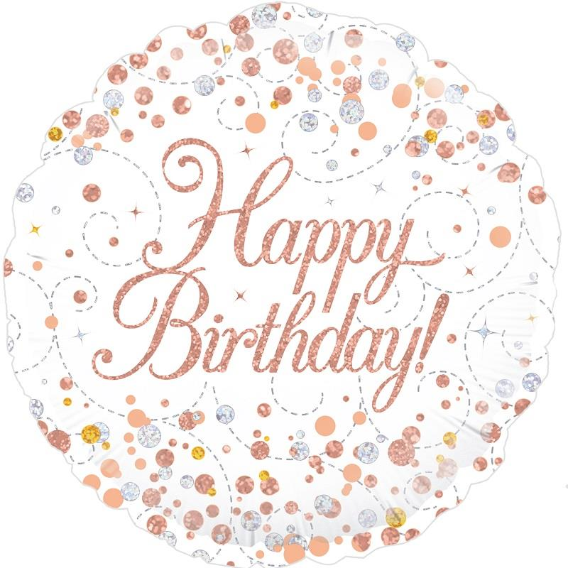 Rose Gold Confetti Happy Birthday 18 Quot Foil Helium Balloon