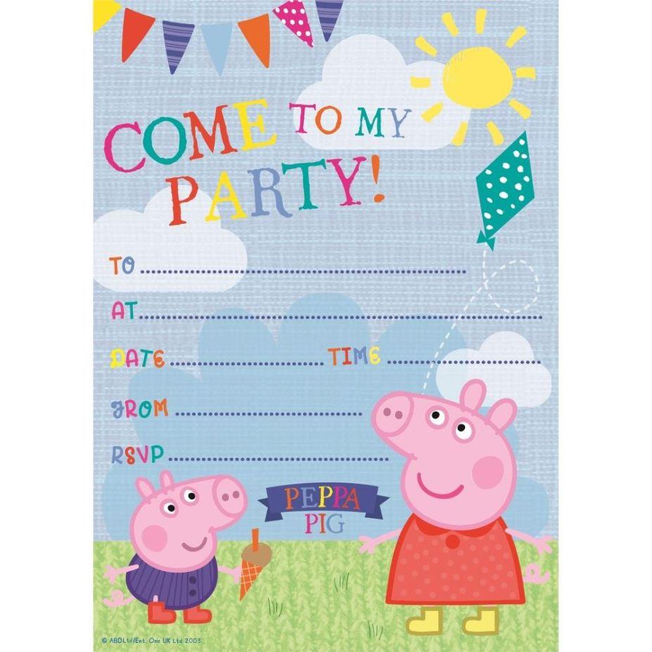 Peppa Pig Ice Cream Party Invitations   Invites