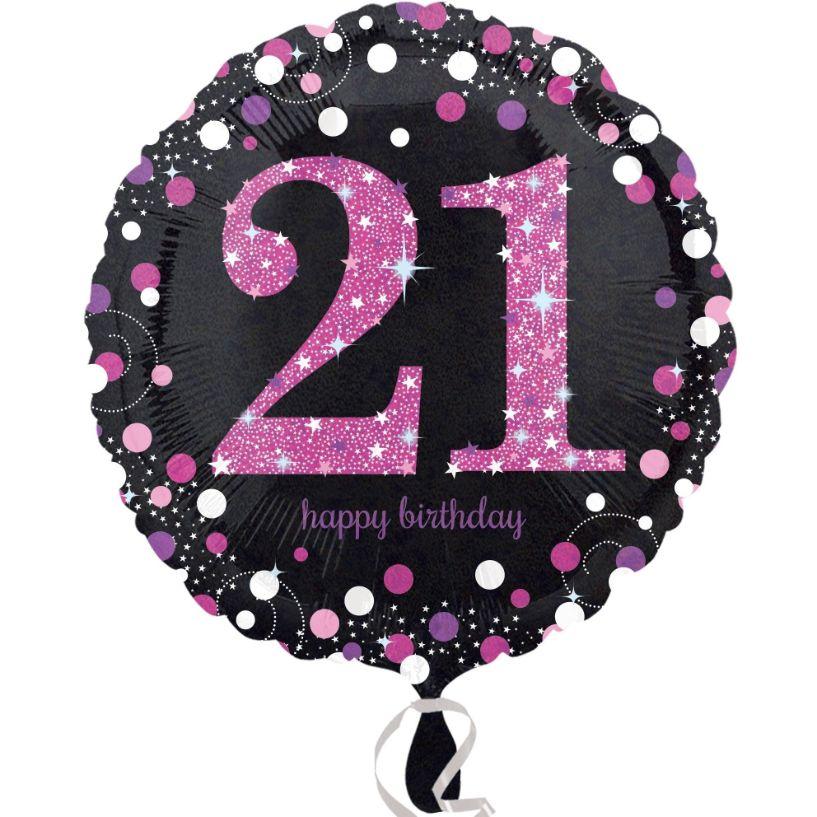 Pink Sparkle 21st Birthday Foil Helium Balloon