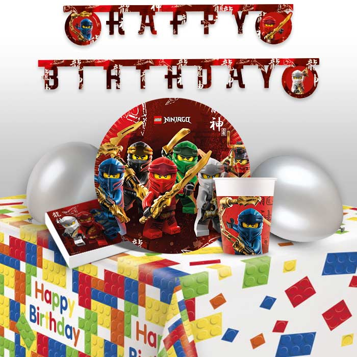 Lego Ninjago 8 to 48 Guest Premium Party Pack - Tableware | Balloons | Decoration  sc 1 st  Party Save Smile & Lego Ninjago 8 to 48 Guest Premium Party Pack - Tableware | Balloons ...