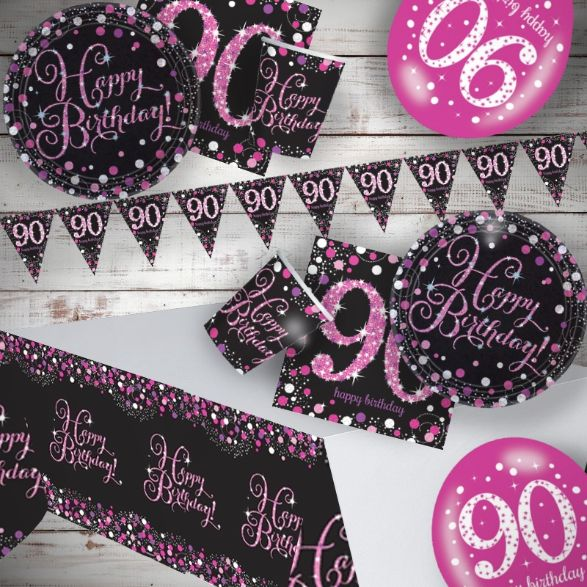 Pink Sparkling 90th Birthday 8 To 48 Guest Premium Party Pack