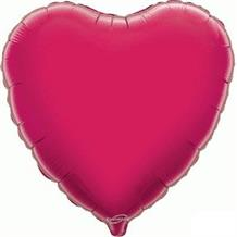 "Hot Pink | Fuchsia Plain Coloured Heart 18"" Foil 