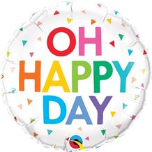 "Oh Happy Day Rainbow Confetti 18"" Foil 