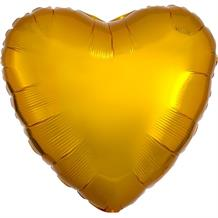 "Anagram Gold Unpackaged Plain Coloured Heart 18"" Foil 