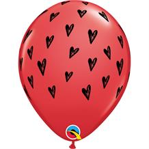 Red Heart Seeds Latex Balloons