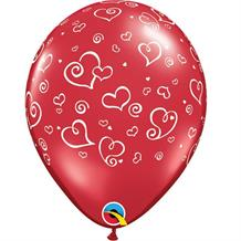 "Red Hearts Swirls 11"" Qualatex Latex Party Balloons"