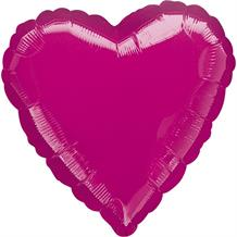 "Anagram Fuchsia Pink Metallic Unpackaged Plain Coloured Heart 18"" Foil 