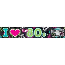 I Love the 1980's Foil Party Banner | Decoration