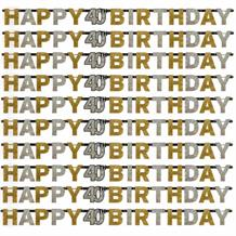 Gold Sparkle 40th Birthday Paper Letter Banner