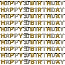Gold Sparkle 50th Birthday Paper Letter Banner