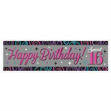 Sweet 16 Birthday Party Giant Personalisable Banner | Decoration