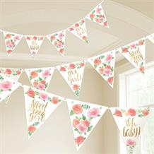 Floral Sweet Baby Girl Flag Banner Bunting Decoration
