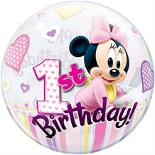 "Baby Minnie Mouse 1st Birthday 22"" Qualatex Bubble Party Balloon"