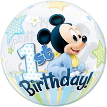 "Baby Mickey Mouse 1st Birthday 22"" Qualatex Bubble Party Balloon"