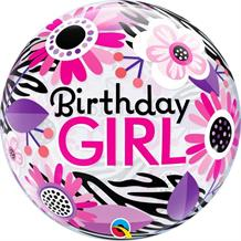 "Birthday Girl Flowers Zebra Print 22"" Qualatex Bubble Party Balloon"