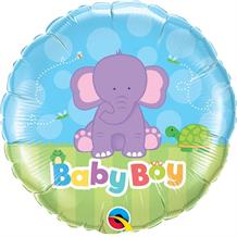 "Baby Boy Blue Elephant Baby Shower 18"" Foil 