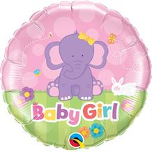 "Baby Girl Pink Elephant Baby Shower 18"" Foil 