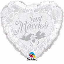 "Just Married Silver & White Heart Wedding 18"" Foil 