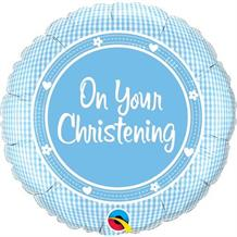 "On Your Christening Blue Plaid 18"" Foil 