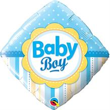"Baby Boy Diamond Blue Baby Shower 18"" Foil 