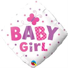 "Baby Girl Butterfly Diamond Baby Shower 18"" Foil 