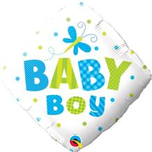 "Baby Boy Dragonfly Diamond Baby Shower 18"" Foil 