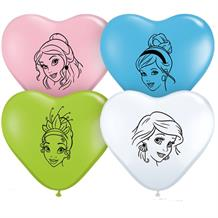 "Disney Princesses Heart Shaped 6"" Qualatex Latex Party Balloons"