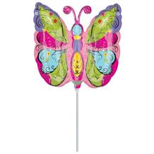 Whimsical Garden Butterfly Mini Shaped Balloon with Stick