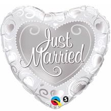 "Just Married Silver Heart Wedding 18"" Foil 