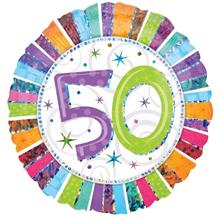"Radiant 50th Birthday 18"" Foil 