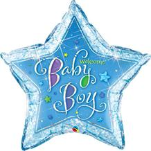 Welcome Baby Boy Blue Star Shaped Foil | Helium Balloon