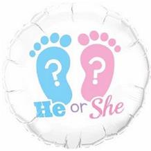 "He or She Footprints Baby Shower 18"" Foil 