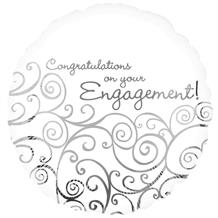 Congratulations on Your Engagement White Party Foil | Helium Balloon
