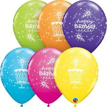 "Colourful Birthday Cake and Candles 11"" Qualatex Latex Party Balloons"