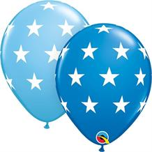 "Blue Big Stars 11"" Qualatex Latex Party Balloons"