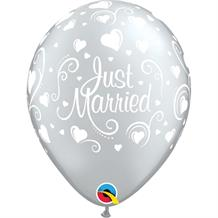 "Just Married Wedding 11"" Qualatex Latex Party Balloons"