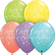 "Elegant Sorbet Sparkles and Swirls Happy Birthday 11"" Qualatex Latex Party Balloons"