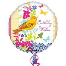 "Birthday Wishes Bird 18"" Foil 