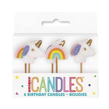 Unicorn and Rainbow Shaped Cake Candles | Decorations