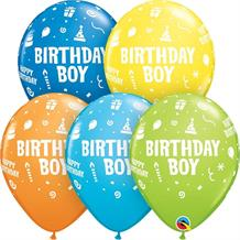 "Colourful Birthday Boy 11"" Qualatex Latex Party Balloons"