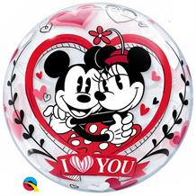"Disney Mickey and Minnie Mouse I Love You 22"" Qualatex Bubble Party Balloon"