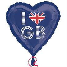 "I Love GB | Great Britain | Union Jack 18"" Foil 