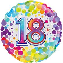 "Age 18 Colourful Confetti 18"" Foil 