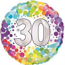 "Age 30 Colourful Confetti 18"" Foil 