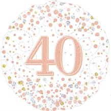 "Rose Gold Confetti 40th Birthday 18"" Foil 