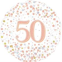 "Rose Gold Confetti 50th Birthday 18"" Foil 