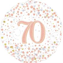 "Rose Gold Confetti 70th Birthday 18"" Foil 