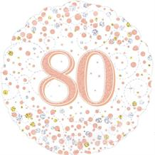 "Rose Gold Confetti 80th Birthday 18"" Foil 