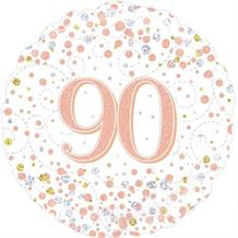 "Rose Gold Confetti 90th Birthday 18"" Foil 