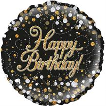 "Black and Gold Holographic Birthday 18"" Foil 
